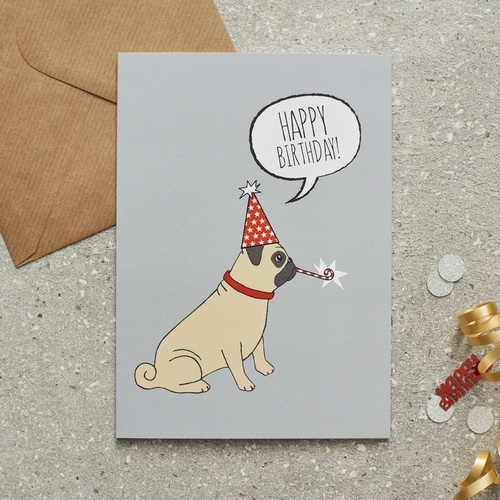 Wedding Gifts For Dog Lovers: Pug Birthday Card £2.75