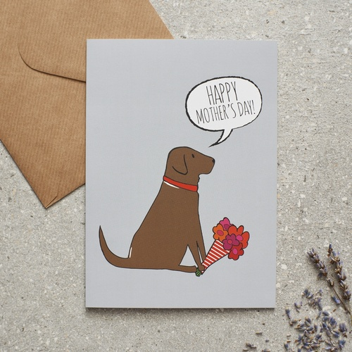 Chocolate Labrador Mother's Day Card