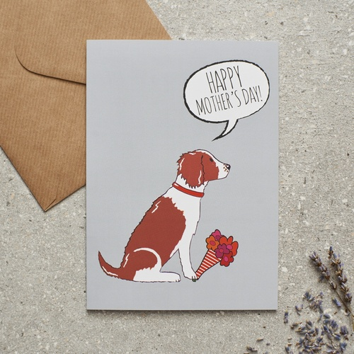 Springer Spaniel (Liver & White) Mother's Day Card