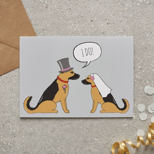 German Shepherd Wedding Card