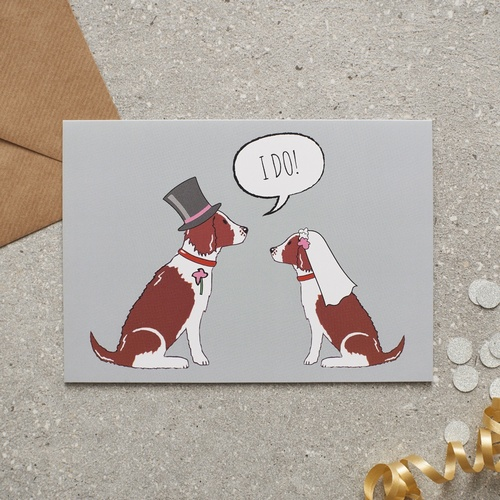 Springer Spaniel (Liver & White) Wedding Card
