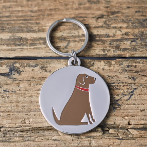 Chocolate Labrador Dog ID Name Tag