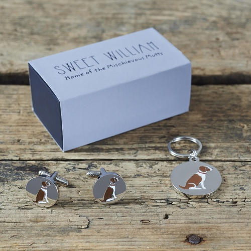 Springer Spaniel (Liver & White) Cufflinks and Tag Gift set