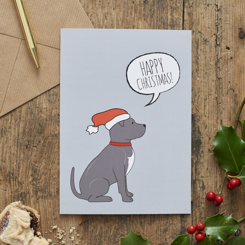 Staffie Christmas Card