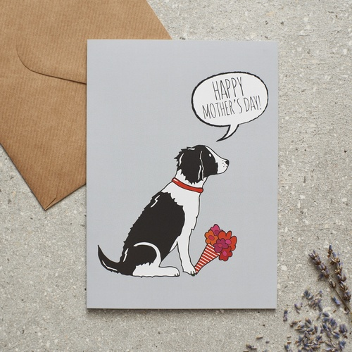 Springer Spaniel (black & white) Mother's Day Card