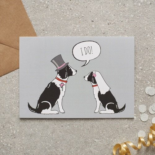 Springer Spaniel (black & white) Wedding Card