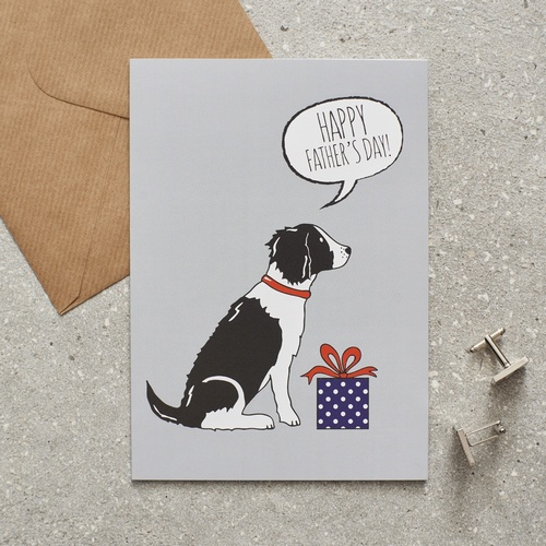 Springer Spaniel (black & white) Father's Day Card