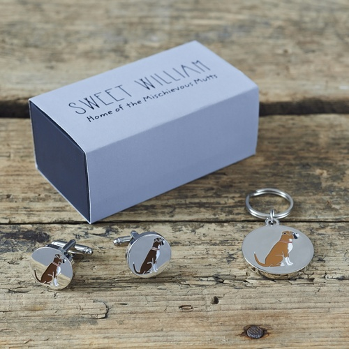 Boxer Cufflinks and Dog Tag Set
