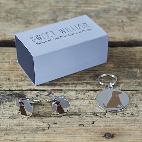 Chocolate Labrador Cufflinks and Dog Tag Set