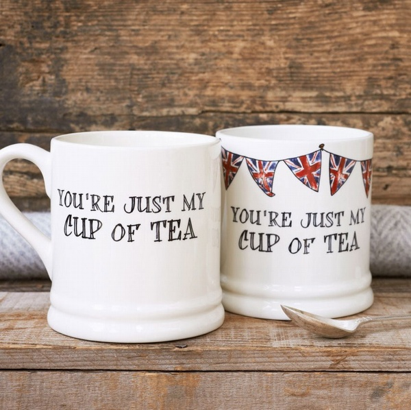 You're just my cup of tea mugs both plain and with union jack bunting