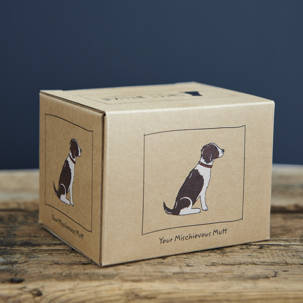 Liver and White Springer Spaniel mug gift box