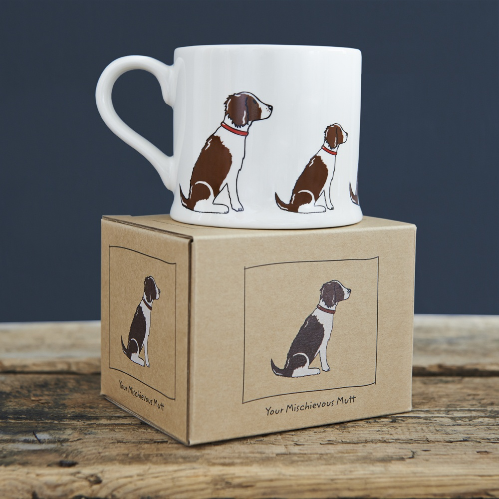 Liver and White Springer Spaniel mug and gift box