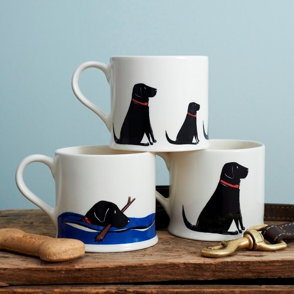Set of 3 Black Labrador Lab mugs from Sweet William