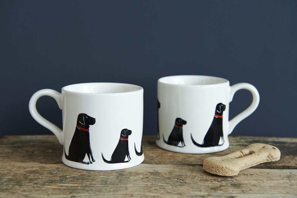 Two Black Labrador Lab mugs