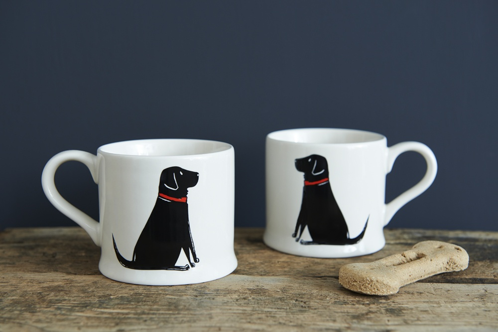 Two single Black Labrador Lab mugs