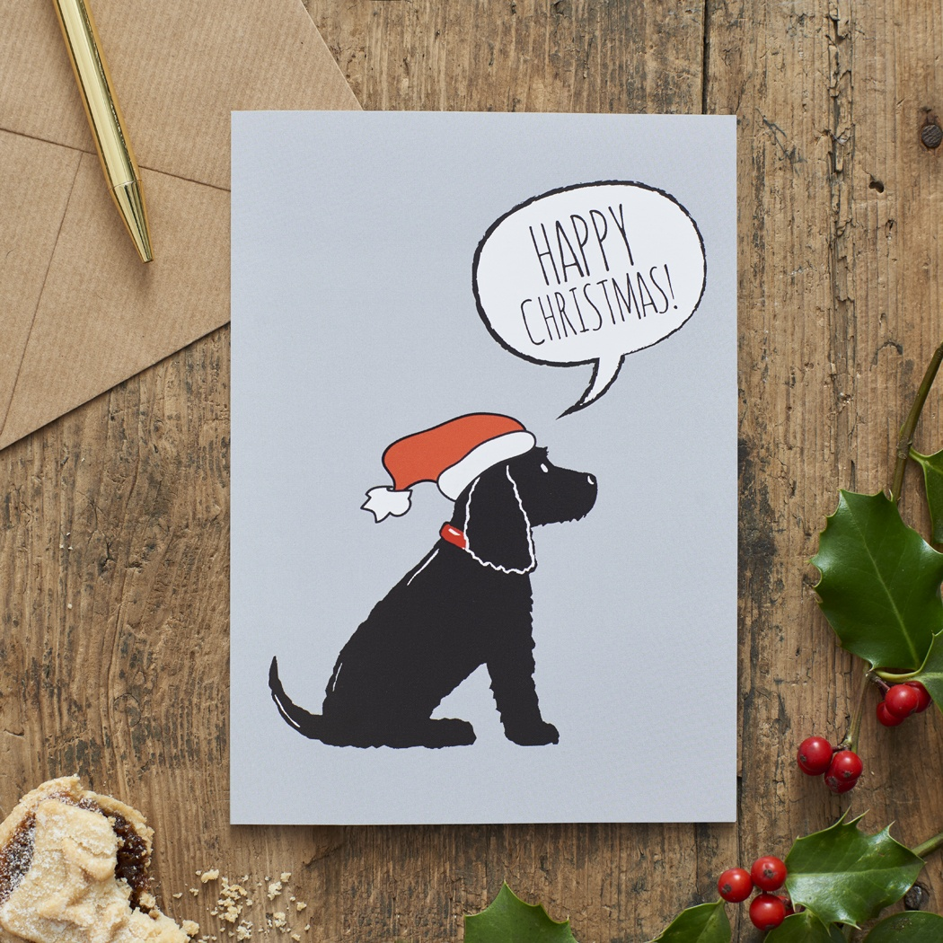 Black Cocker Spaniel Christmas Card