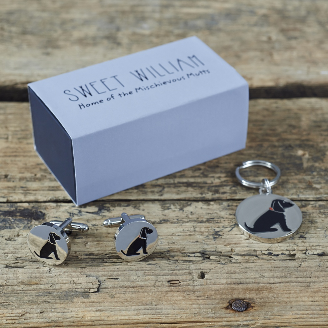 Cocker Spaniel Cufflinks and Dog Tag With Gift Box