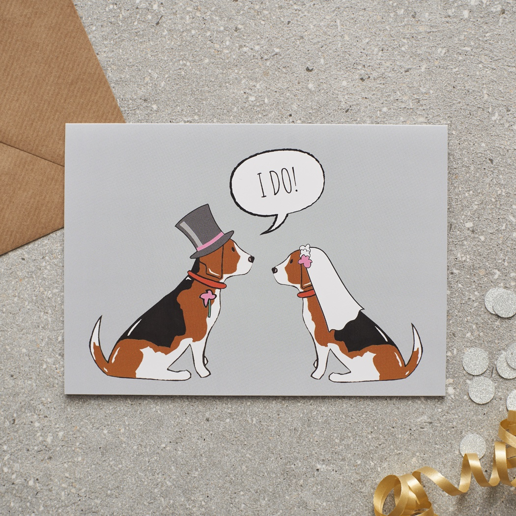 Beagle Wedding Card