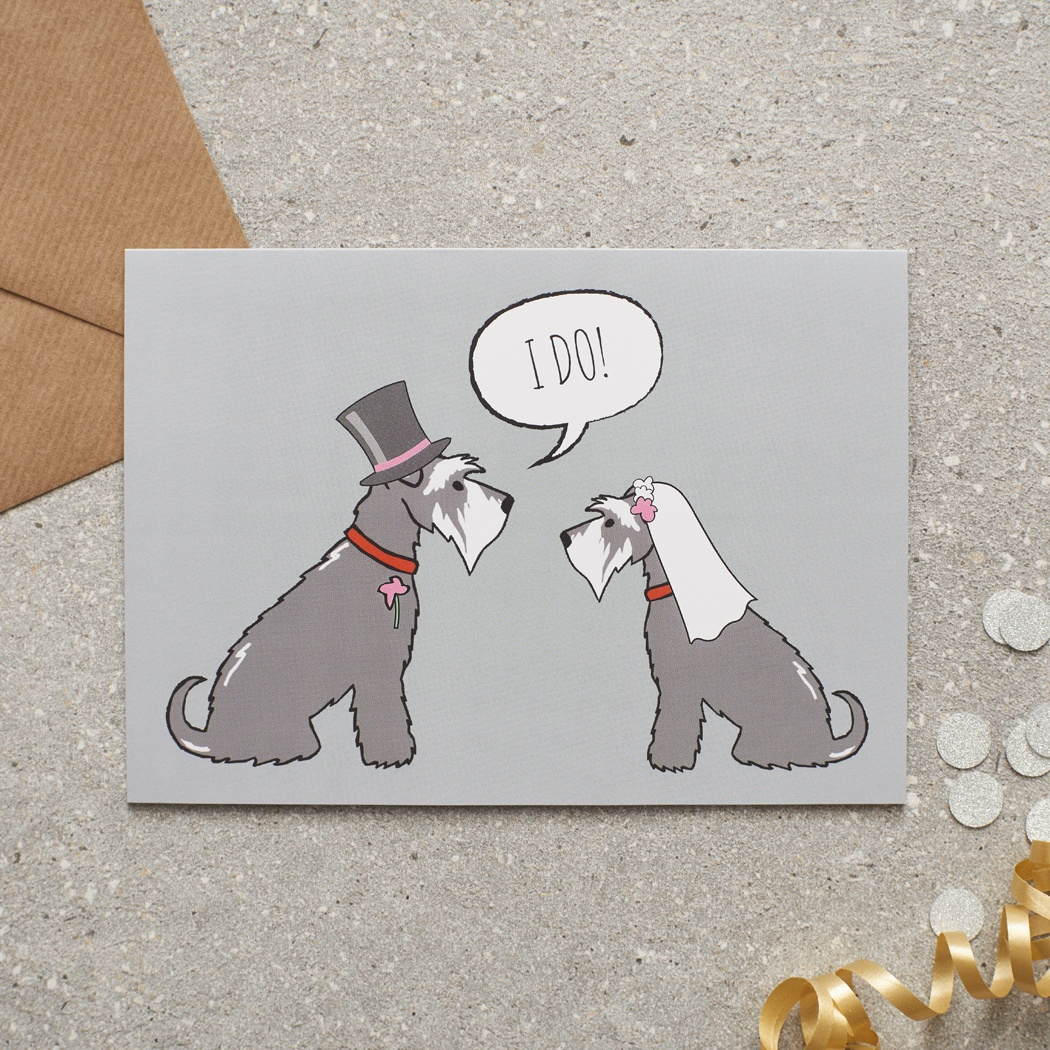 Grey Schnauzer Wedding Card