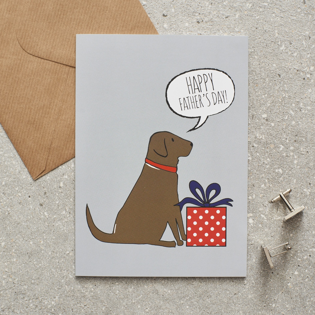 Chocolate Labrador Father's Day Card