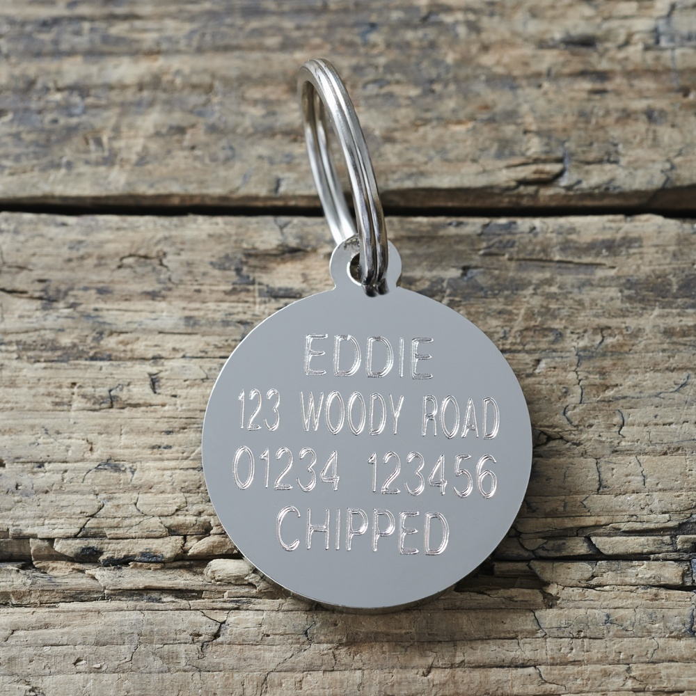 Example of the engraved reverse side of the Oh Bugger I'm Lost Dog ID Name Tag with gift box