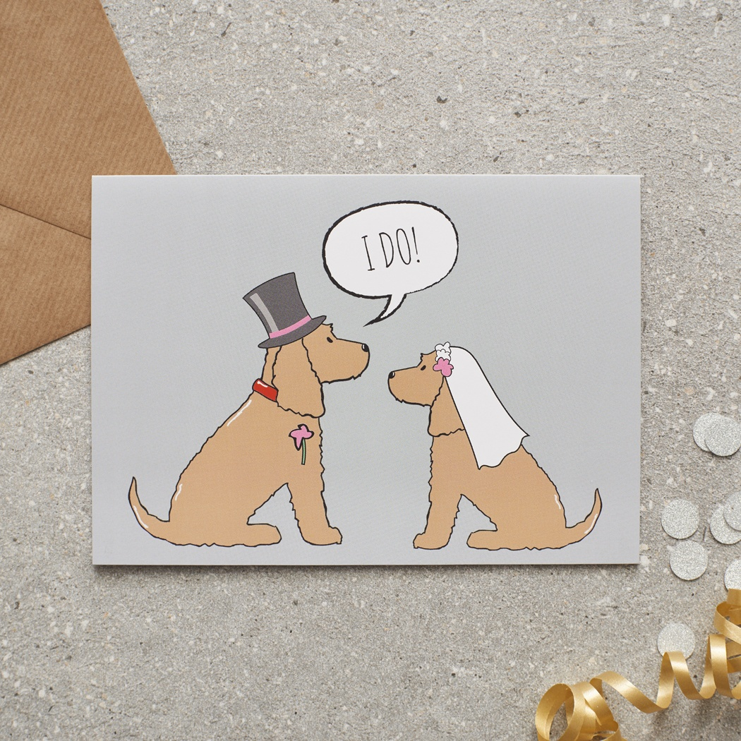Golden Cocker Spaniel Wedding Card