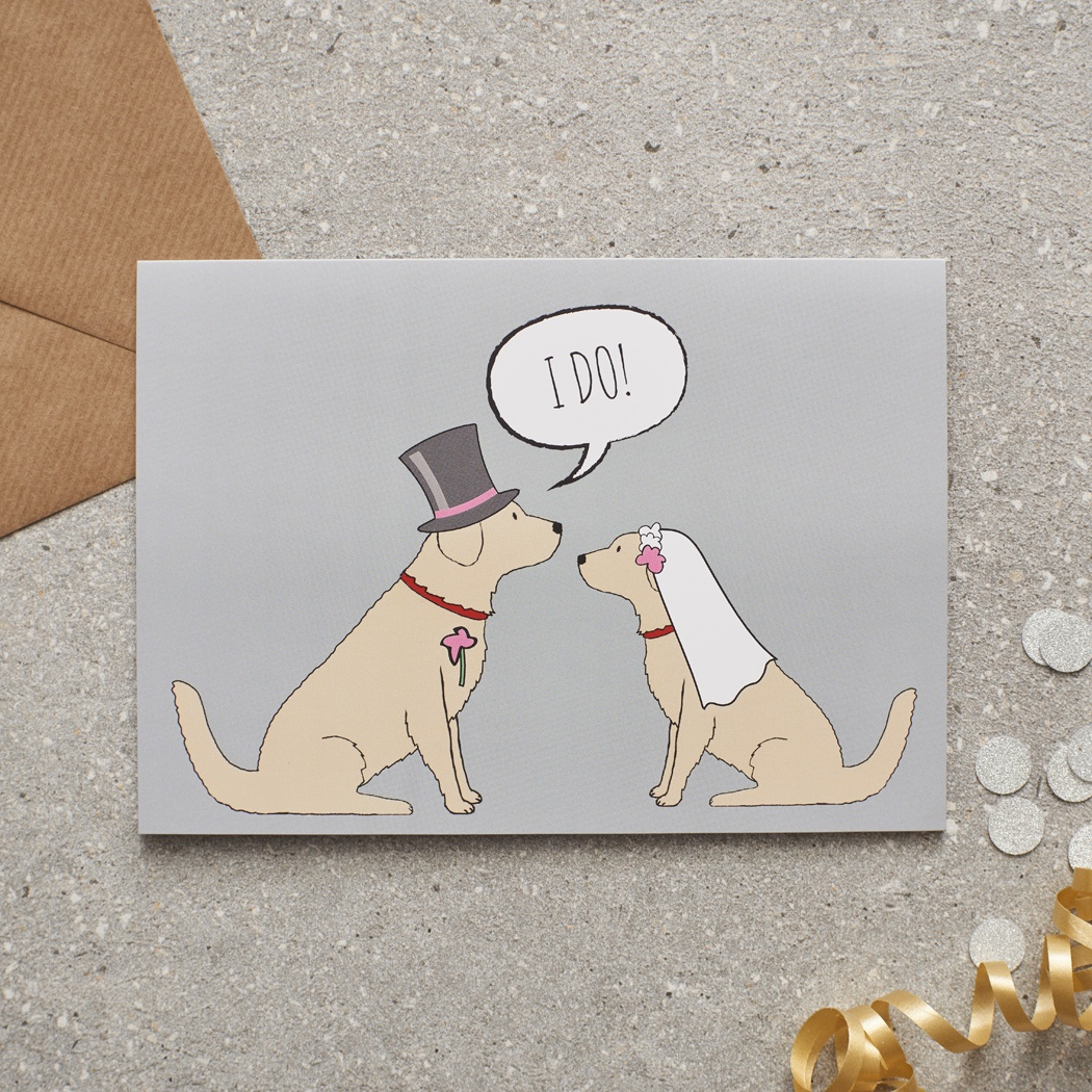 Golden Retriever Wedding Card
