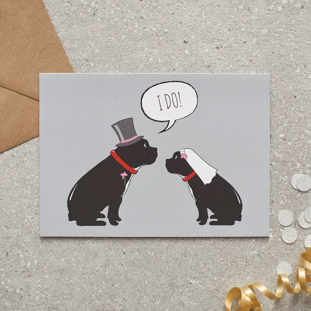 French Bulldog Wedding Card