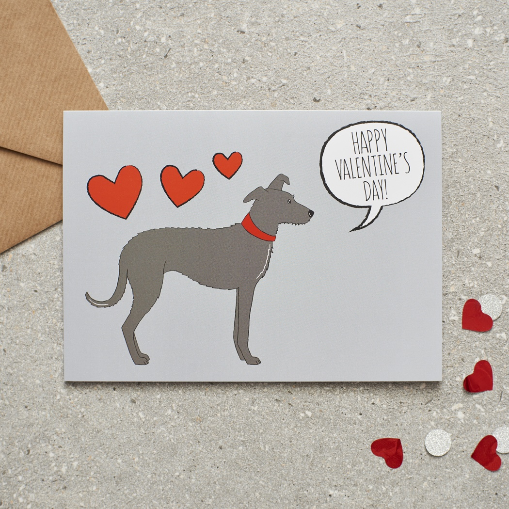Lurcher Valentine's Day Card