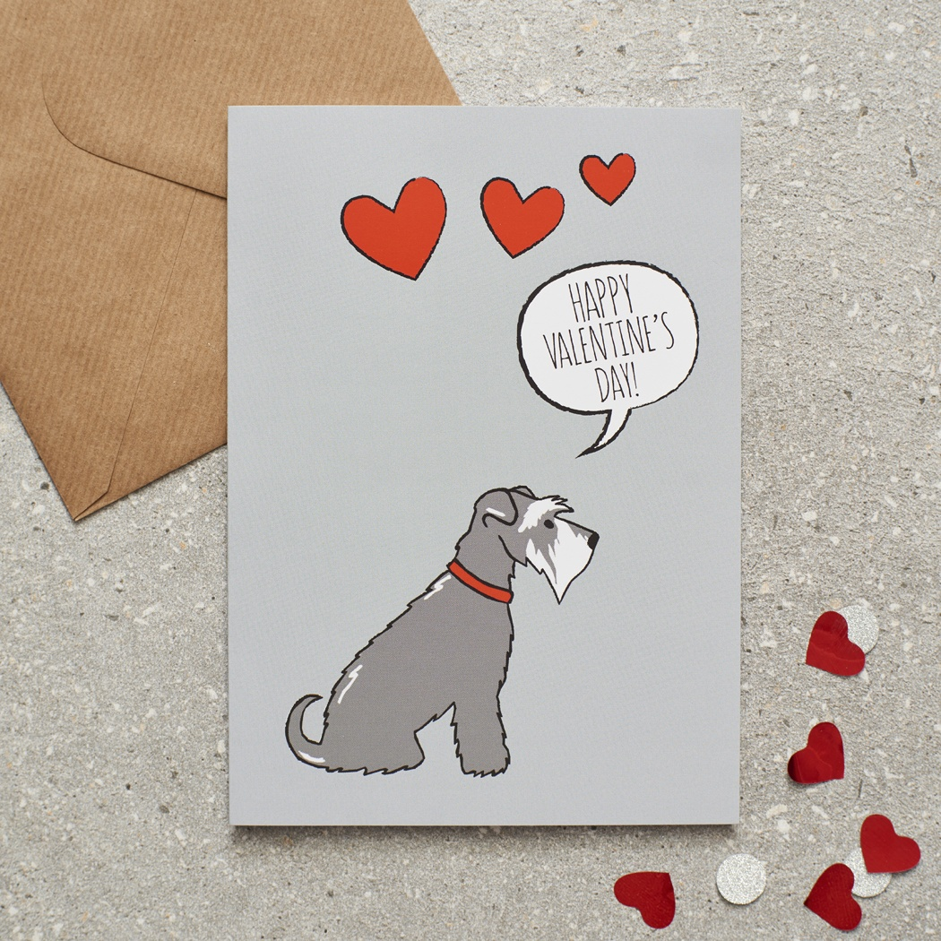 Grey Schnauzer Valentine's Day Card