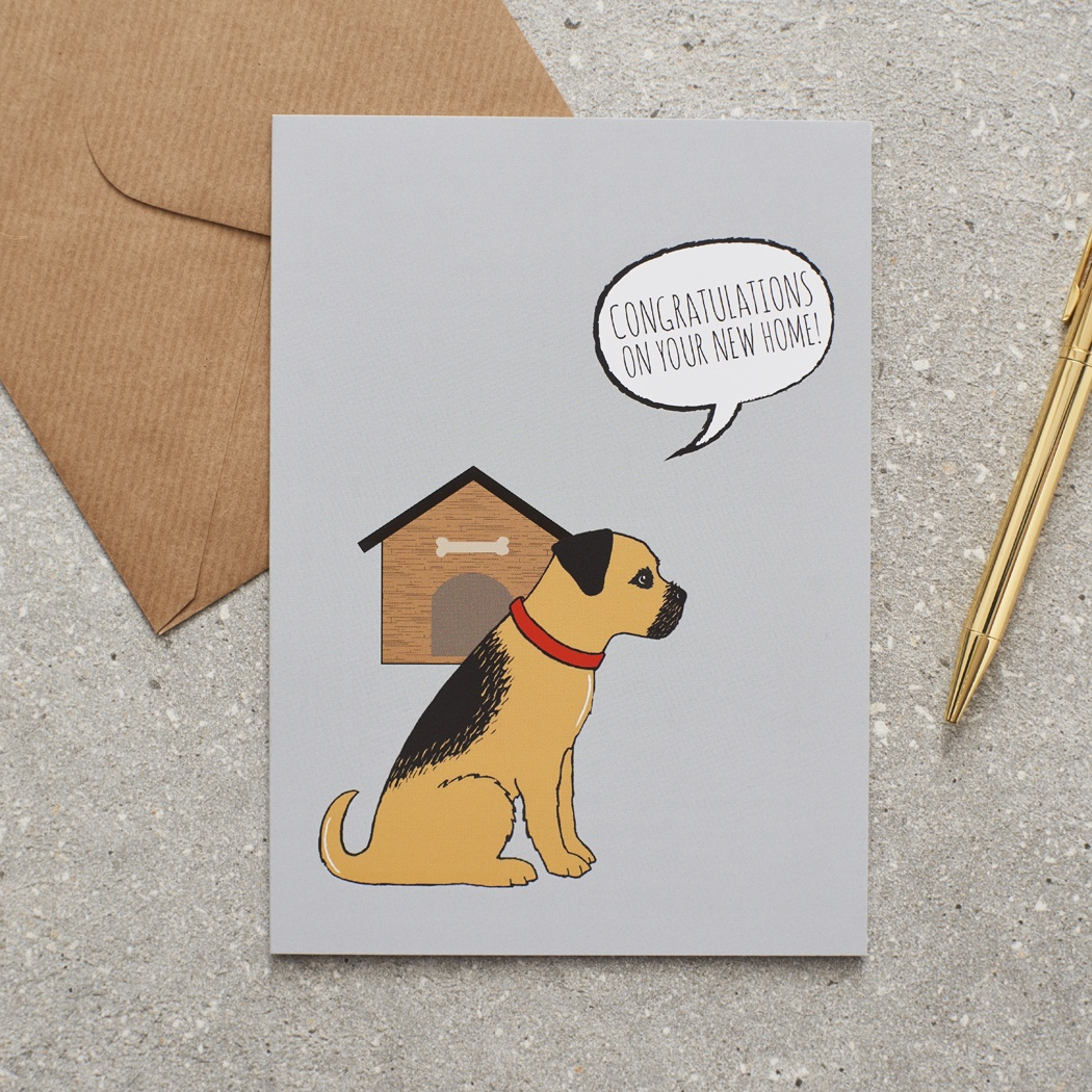 Border Terrier Congratulations on your New Home Greetings Card
