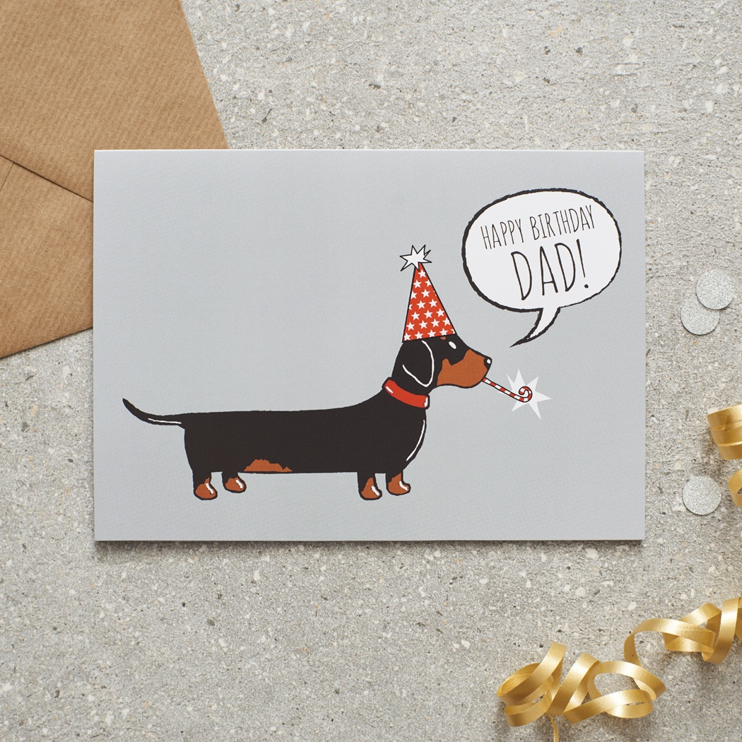 Dachshund / Sausage Dog Happy Birthday Dad Greetings Card