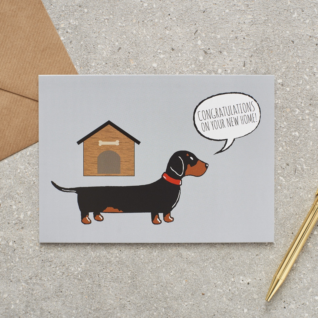 Dachshund / Sausage Dog Congratulatons on your New Home Greetings Card