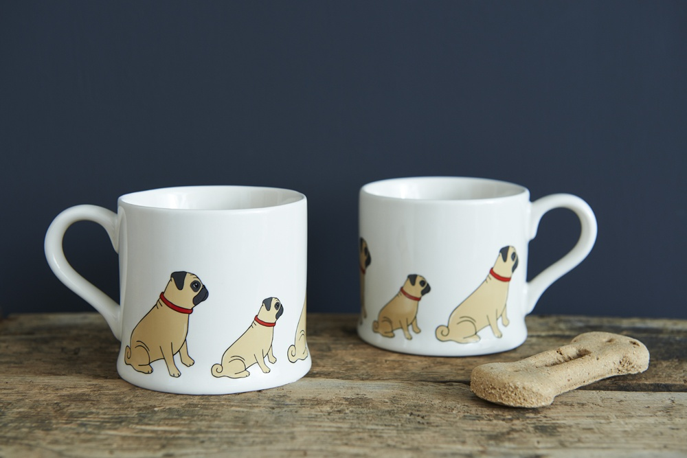 A pair of pug mugs