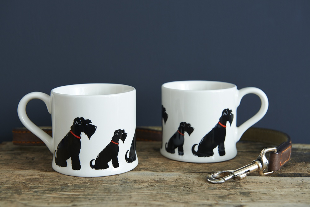 Two black Schnauzer mugs