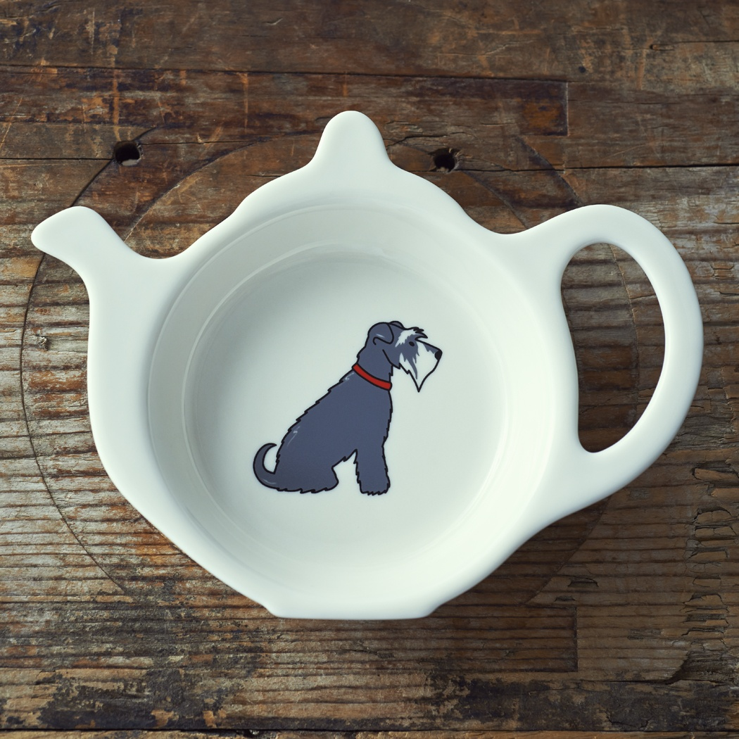 Grey & White Schnauzer Teabag Dish