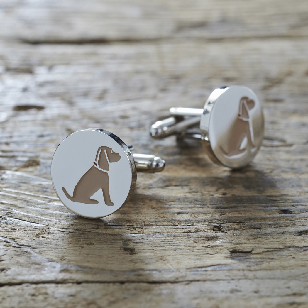 Cocker Spaniel (golden) Cufflinks and Dog Tag Set