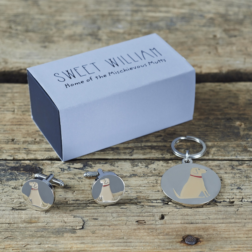 Yellow Labrador Cufflinks and Dog Tag Set